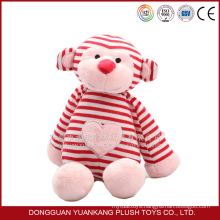 Custom Lovely 35cm Plush Monkey Toys with Red and Pink Clothes
