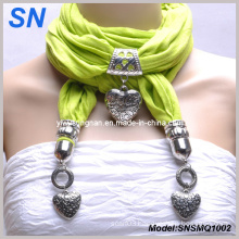 Green Heart Pendant Scarf with Jewelry (SNSMQ1002)