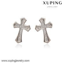 E-169 Xuping Fashion rhodié élégant diamant CZ imitation bijoux boucle d'oreille avec croix