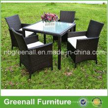 Kd Style 4 Seater mesa de comedor de ratán y sillas conjunto