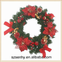 Red Christmas wreaths frame