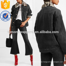 Faux Fur-trimmed Distressed Denim Jacket Manufacture Wholesale Fashion Women Apparel (TA3029C)