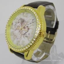 Montres en cristal noble avec bracelet en cuir (HAL-1228)