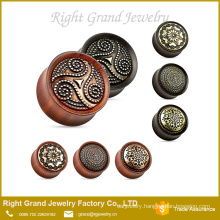 Fashion Brass Inlayed Wooden Ear Plugs Tunnel Piercing Body Jewelry