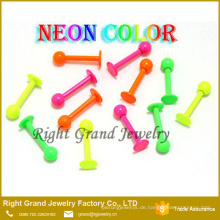 Neon Farbe Eloxiert Chirurgenstahl Kostenlose Probe Lip Ringe