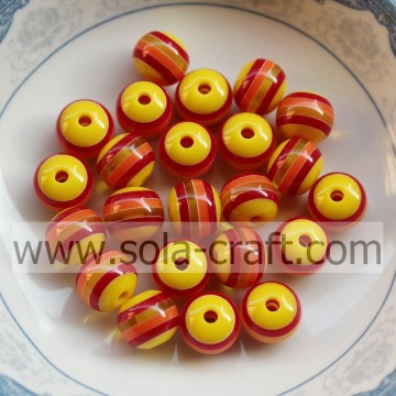 8MM Fashion Wholesale New Yellow & Red Stripe Charm Gemstone Spacer Round Swarovski Crystal Loose Jewelry Beads