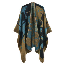New 2021 oversized Ladies Winter carpet shawl casual tassel Jacquard pullover Shawls