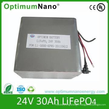 Batterie LiFePO4 24V 30ah de cycle profond de Li pour UPS