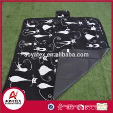 New design easy carrying printed polar fleece picnic blanket