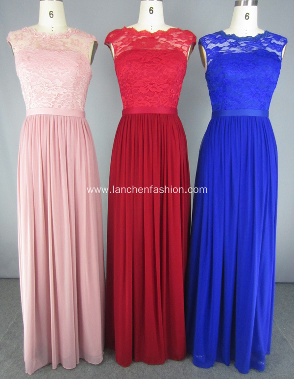 Lace Illusion Neckline Evening Gown Long Dress