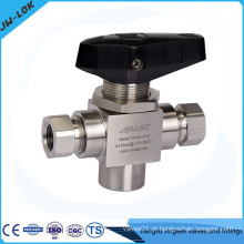 1/4 FNPT 3 Way Trunnion Ball Valve
