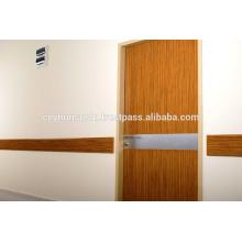 Porta revestida laminada para hospitais com aço inoxidável Steick Kick e Stretcher