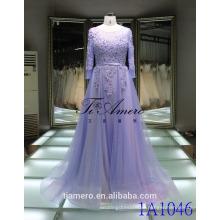 1A1046 Romântico Light Purple 3D Flores Appliqued Frisado Long Sleeve Sash Voltar Abra Vestido de dama de honra Vestido de noiva Vestido de noiva