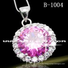 Collar rosado de la manera del círculo de la alta calidad (B-1004)