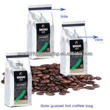 Sacos de empacotamento do café do gusset do lado de Customzied para o café à terra com válvula