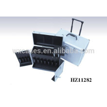 portable aluminum hairdresser trolley case with one extendable handle 2 wheels wholesales