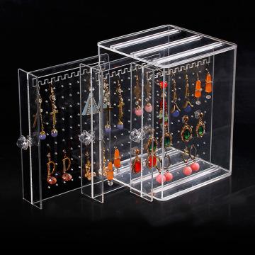 Boîte de rangement de boucle d'oreille d'affichage de bijoux en acrylique de mode