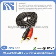 Câble AV stéréo mâle à mâle de 3,5 mm à 2rca pour ordinateur / VCD / DVD / HDTV / MP3