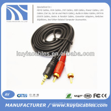 male to male 3.5mm to 2rca stereo AV Cable for computer/VCD/DVD/HDTV/MP3
