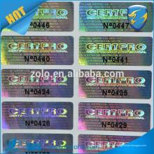 Fornecedor confiável de etiqueta de holograma de impressão de número de série