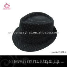 100% Polyester Strip black fedora hat