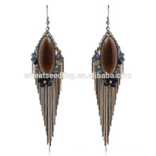 Boho vintage de haute qualité pendent de lourdes boucles d'oreilles en pierre pendantes ethniques nuptiales