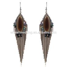 Alta qualidade boho vintage dangle pesado nupcial étnica pendurado brincos de pedra