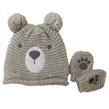 Enfants Bébé Enfants Tricoté Ours Impression Gants De Broderie Moufle Chaud Bonnet Chapeau (HW634S)