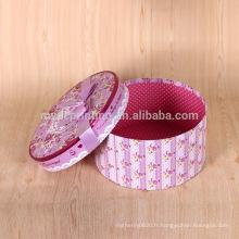 Impression personnalisée ronde chapeau fleur boîte d'emballage en gros