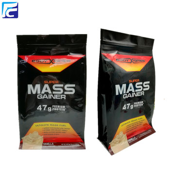 Food packaging bag with side gusset for protein