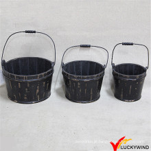 Barril de madeira preto para a flor ou a planta (nome de tipo: Luckywind)