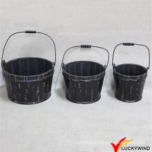 Черная деревянная бочка для цветов или растений (Бренд: Luckywind)