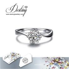 Destino joias cristal de Swarovski anel floco de neve
