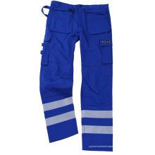 Pantalones ignífugos con cinta plateada azul