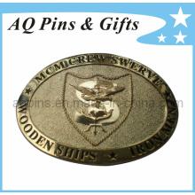 Hebilla de cinturón militar de cobre amarillo de la alta calidad 3D con el forro del Pin (correa buckle-006)