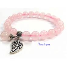 Quartz Rose naturel Perles Bracelet avec breloque, pendentif argent (BRG0054)