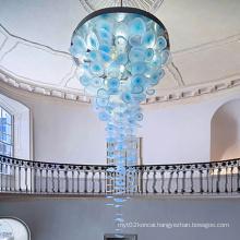 Luxury Mall Art Aluminum Acrylic Plate Blue Chandelier