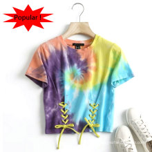 2021 New Arrival Cute Hip Hop Short Female Cotton Custom Design Tie Dye Women T-Shirts