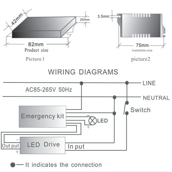 Emergency LED driver diagram