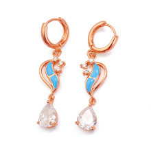Xuping Rose Gold Color Rain Zircon Earring (21253)
