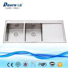 2017 new Handmade double bowl with drainboard stainless steel kitchen sink with Sink Including Dish Drying Rack and Dish Grid