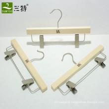 cabide de saia leve de madeira compensada com clipes