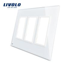Panneau de triple vitrage blanc standard 170 x 125 mm Livolo blanc à vendre pour prise murale, tailles standard VL-C5-SR / SR / SR-11