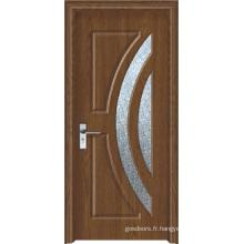 Porte en PVC pour salle de bain en verre givré (WX-PW-161)