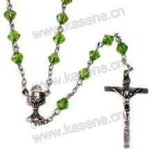 Diamond Shape Catholic Crucifix Rosary Necklace with Virgin Mary Centerpiece