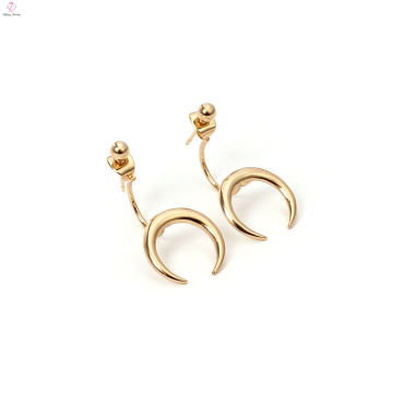 Stud Charm Earring Copper Gold Plated Moon Horn Earrings
