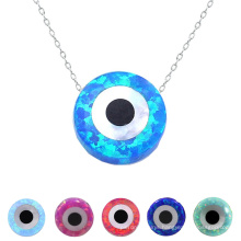 Popular Round Shape Blue Opal Evil Eye Bead Pendant Lucky Necklace With 925 Silver Chain