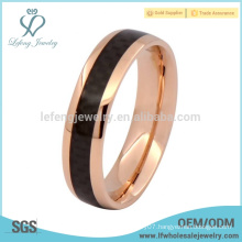 Top selling rose gold ring titanium with carbon fiber engagement ring