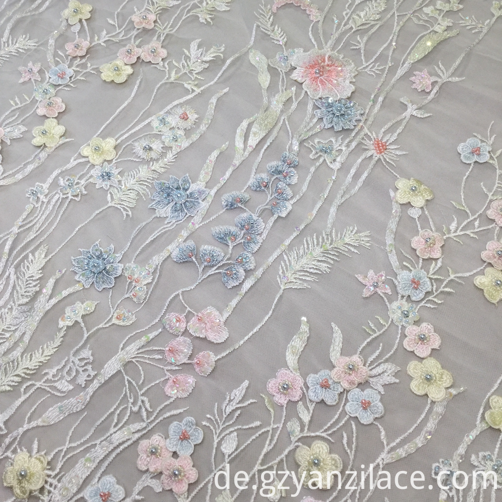 3d Flower Lace Embroidered Fabric