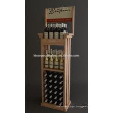 Custom Supermarket Wholesale Price Liquor Retail Freestanding Commercial Wooden Beer Display Rack